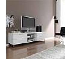 Meuble TV blanc laqué design JEREMY