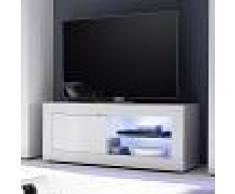 NOUVOMEUBLE Meuble tv 140 cm blanc laqué design FOCIA 2