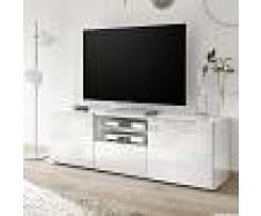 NOUVOMEUBLE Grand meuble TV blanc laqué design ELMA