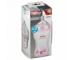 Nuby™ Biberon rose SoftFlex™ -330ml - PP tétine à débit variable 1.2.3 0048526680108