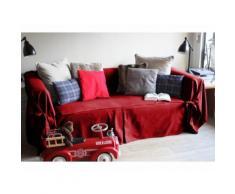 Housse canapé 3 places en coton rouge à nouettes INES