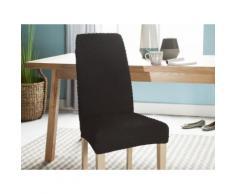 Housse de chaise extensible unie noir effet gaufré MARINE