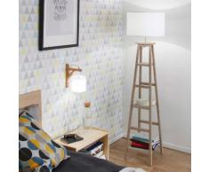 Lampadaire étagère en bois blanchi avec abat jour coton beige BOOKY