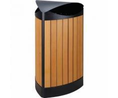 poubelle extérieur triangle finition wood 60l noir/bois,