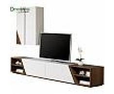 Composition design meuble TV laque et noyer 4 niches