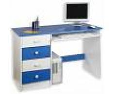 IDIMEX Bureau enfant MALTE, 4 tiroirs, lasuré blanc/bleu