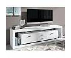 mobistoxx Meuble tv-hifi haut FANCY 2 portes 2 tiroirs blanc sans led