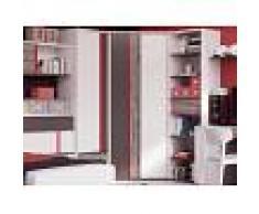 Mobistoxx Armoire d'angle PHILOPY 2 portes blanc graphite/philosophie rouge