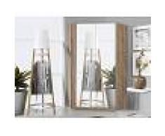 Mobistoxx Armoire d'angle SAMASSA 2 portes miroir chêne sonoma/blanc brillant