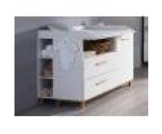 Mobistoxx Commode à langer CARLINO 1 porte 2 tiroirs blanc/chêne massif