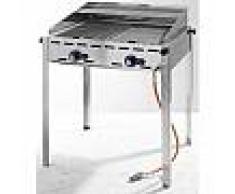 hendi Barbecue Green Fire - 1 bruleur - plaque en fonte émaillée et grille gastronorme 1/1 - 442x612x(H)825