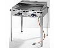 hendi Barbecue Green Fire - 4 bruleurs - plaque en fonte émaillée et grille gastronorme 1/1 - 1400x612x(H)825