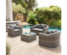 Salon de jardin Mooréa Terre d'ombre 4 places - Aluminium traité époxy, Résine tressée, Polyester