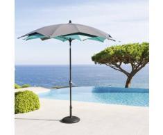 Parasol droit rond double toile Raja Ardoise & Émeraude Jardin