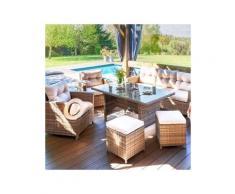 Salon de jardin Tivoli Naturel/Beige - 7 places