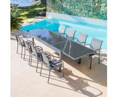 Table de jardin extensible en verre (270 x 90 cm) - Anthracite