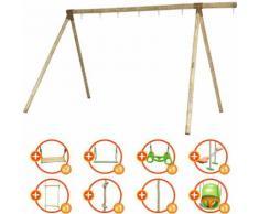 Promo - Portique bois évolutif TRIGANO 2,50 m. 5 enfants - 9 agrès inclus
