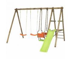 Promo - Portique en bois BANJI Trigano 2,30 m. + toboggan 5 enfants