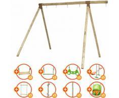 Promo - Portique bois évolutif TRIGANO 2,50 m. 4 enfants - 9 agrès inclus