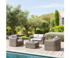 Salon de jardin Mooréa Naturae 4 places - Aluminium traité époxy, Résine tressée, Polyester