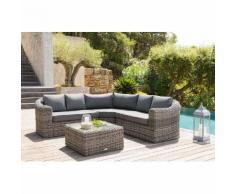 Salon d'angle de jardin Mooréa Terre d'ombre 5 places - Aluminium traité époxy, Résine tressée, Polyester