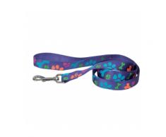 Laisse violette en nylon pour chien motifs pattes Chapuis Sellerie Largeur 15 mm Longueur 120 cm