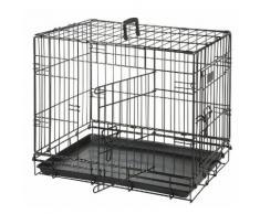 Cage pour chien Coloris Noir 2 portes L 77 cm x l 54 cm x 47 cm
