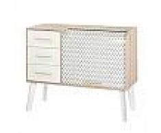 Meuble d'entrée chêne/blanc tiroirs blancs et rideau décor vagues