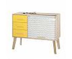 Meuble d'entrée chêne avec 3 tiroirs jaunes et rideau décor vagues