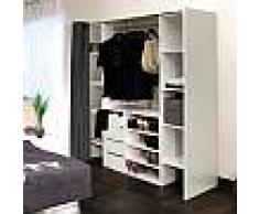 Dressing 2 colonnes + meuble 4 tiroirs blanc, rideau gris