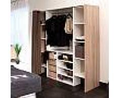 Dressing 2 colonnes + meuble 4 tiroirs, rideau taupe