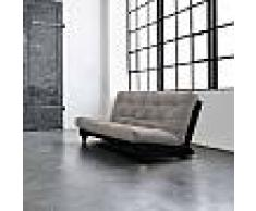 terre de nuit Pack futon coton taupe 140x200 banquette fresh wengé - Terre de Nuit