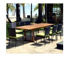 salon de jardin en teck huile et résine tressée table 180-240 cm + 8 chaises en résine noir