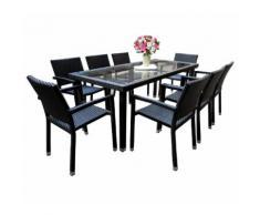 salon de jardin 8 fauteuils en poly rotin table 192 cm