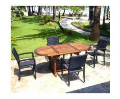 ensemble de jardin table teck 120-180 cm et 4 fauteuils résine noire