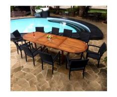 salon de jardin en teck huilé et 10 fauteuils en résine poly rotin - table 200-250-300cm