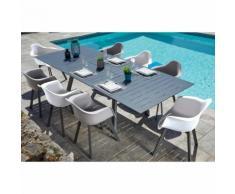 Salon de jardin moderne aluminium 8 personnes Jules Table anthracite + fauteuils blancs et taupes