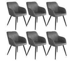 Lot de 6 chaises tissu MARILYN - Chaise, chaise de salle à manger, chaise de salon - gris/noir