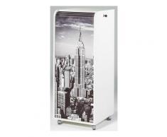 Grand caisson à rideau 3 tiroirs blanc imprimé scène de New York Orga