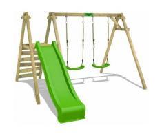 Portique balançoire Aire de jeux JollyJack avec vert pomme Portique bois pour enfants - Fatmoose