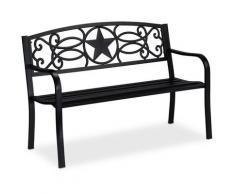 Relaxdays - Banc de jardin, motifs étoile, 2 sièges, protection anti rouille, banc en acier HxlxP: