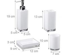 Accessoires salle de bain set 4 pièces distributeur savon gobelet brosse à dent porte savon