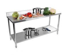 Table De Travail Adossee Plan Travail Etagere Professionnel Cuisines Inox 200X60
