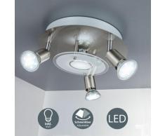 Plafonnier LED luminaire plafond rond métal verre éclairage plafond salon 3 spots GU10