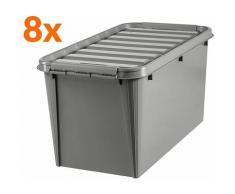 Certeo - 8x Boîte de rangement en plastique recyclé | 70 l | Taupe | Avec couvercle | SmartStore