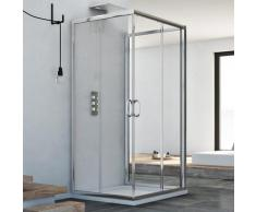 Cabine de douche coulissante en forme U verre transparent h 185 mod. Junior Trio 75X75X75 carré