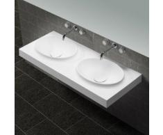Lavabo Suspendu Double Vasque Moulées - Solid surface Blanc Mat - 120x50 cm - Origin