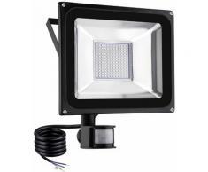 2 PCS 100W Projecteur LED SMD Lampe Extérieure Mit Bewegungsmelder Blanc Chaud