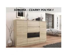 Hucoco - PORTO S1 - Commode tendance meuble rangement chambre/salon - 140x40x98 - 4 tiroirs/2