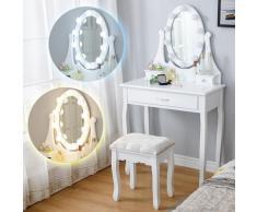 Coiffeuse avec 10 Ampoules LED en Forme de Rose et Tabouret, Miroir Ovale à 3 Tiroirs Romantique
